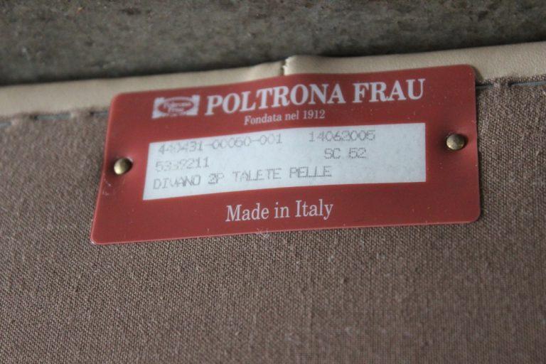 "Mint Rare Poltrona Frau ""Talete"" 2.5-Seat Sofa in Pale Brown Tan Cream ""Pelle"" Leather"