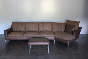 "Rare Handsome B&B Italia ""Harry"" 5-Seat Chaise-End Sofa & Ottoman In Brown Leather & Striped Wool"