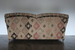 "Rare George Smith ""Standard-Arm"" Medium 2.5-Seat Sofa in Turkish Woollen Kilims"
