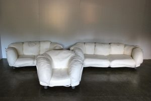"Rare Edra ""Corbeille"" 2 Sofa & Armchair Suite in Impeccable Chalk White Cream Leather"