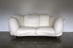 "Rare Outstanding Edra ""Corbeille"" Large 2-Seat Sofa in Impeccable Chalk White Cream Leather"