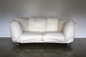 "Rare Outstanding Edra ""Corbeille"" Large 2-Seat Sofa in Impeccable Chalk White Cream Leather"