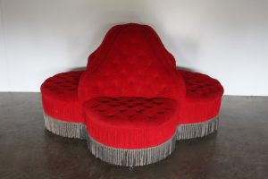 "Mint Rare George Smith ""Conversation Piece"" 4-Seat Sofa in Raspberry Red Italian Velvet"