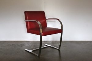 "Mint Knoll Studio ""Brno Flat Bar"" Lounge Chair Armchair in Red Leather"