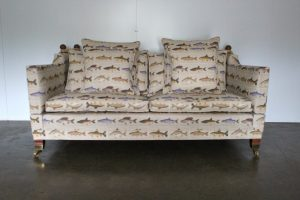 "Gorgeous Duresta ""Trafalgar"" 2.5-Seat Sofa & Footstool in Unique Fish-Print Linen"