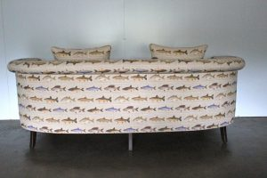 "Gorgeous Wesley Barrell ""Clanfield"" 3.5-Seat Curved Sofa in Fish-Print Linen"