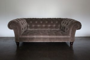 "Mint George Smith ""Early Victorian Chesterfield"" Sofa in Mink Brown Italian Velvet"