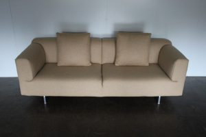 "Rare Sublime Cassina 250 ""Met"" 3-Seat Sofa in Beige Pale-Brown Woven-Wool"