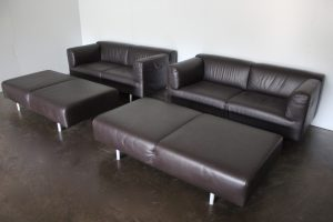 "Rare Superb 2 Sofa & 2 Bench Suite of Cassina ""250 Met"" Seating in Dark Brown Leather"
