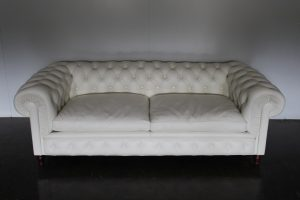 "Mint Rare Poltrona Frau ""Chester One"" 3-Seat Sofa in White ""Pelle"" Leather"
