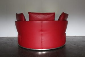 "Rare Sublime B&B Italia ""Amoenus"" Round Circular Ottoman Sofa in Red ""Pelle"" Leather"