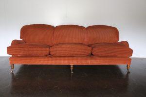 "Fine George Sherlock ""Standard-Arm"" Large 3-Seat Sofa in Ralph Lauren Gold & Burgundy Cut Velvet"