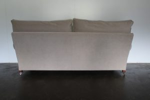 "Mint George Smith Signature ""Scroll-Arm"" Large 2.5-Seat Sofa in Designers Guild ""Mezzola"""