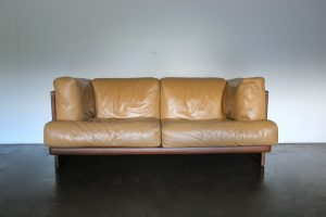 "Mint Rare Poltrona Frau ""Polo"" 2-Seat Sofa & Armchair Suite in Dark Brown & Tan ""Pelle"" Leather"
