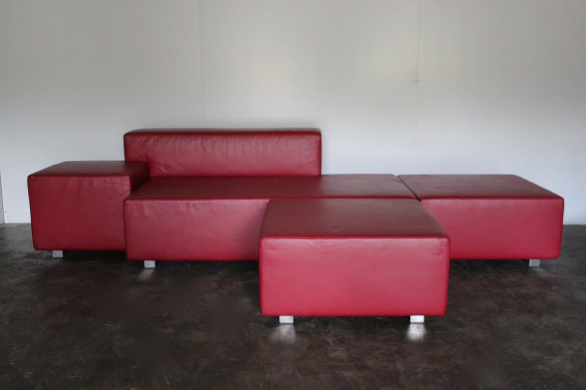 Isola Poltrona Frau.Mint Rare Poltrona Frau Isola 5 Seat Sectional Sofa In Red