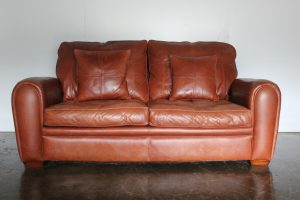 """Sublime Duresta """"Spitfire"""" 2.5-Seat Sofa and Armchair in Tan-Brown """"Niven"""" Leather"""