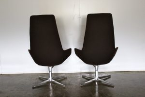 "Sublime Pair of Arper ""Aston"" Armchairs in Pristine Dark Aubergine Fabric"