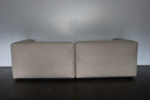 "Gorgeous Cassina ""271 Mex Cube"" Sectional Sofa in Pale Cream Natural Linen"