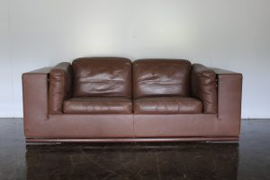 "Sensational Rare Pristine De Sede 2.5-Seat ""Floating"" Sofa in Brown Leather"