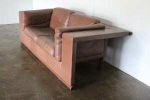 "Sensational Rare Pristine De Sede 2.5-Seat ""Floating"" Sofa in Brown Leather"