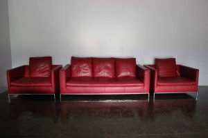 "Mint B&B Italia ""George"" Sofa & 2 Armchair Suite in ""Gamma"" Red Leather"