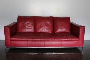 "Mint B&B Italia ""George GS197"" 2.5-Seat Sofa in ""Gamma"" Red Leather"