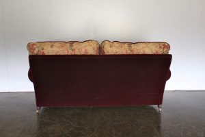 "Mint George Smith Signature ""Elverdon-Arm"" Medium 2.5-Seat Sofa in Burgundy Red Mohair Velvet & Gollut Fabric"