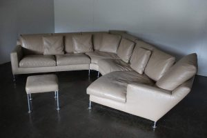 "Rare Handsome B&B Italia ""Harry"" 6-Seat L-Shape Chaise-End Sofa & Ottoman In Pale-Brown ""Gamma"" Leather"