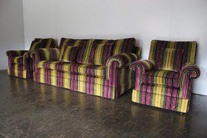 "Pristine Duresta ""Holmes"" 2-Seat Sofa & 2 Armchair In ""Velluti"" Stripe Velvet"