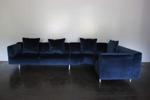 "Mint Huge Cassina ""250 MET"" L-Shape Sectional Sofa in Navy Blue Velvet - 2 Available"