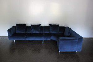 """Mint Huge Cassina """"250 MET"""" L-Shape Sectional Sofa in Navy Blue Velvet - 2 Available"""