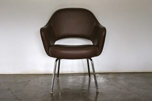 "Mint Knoll Studio ""Saarinen Executive"" Armchair in ""Volo"" Brown Leather"
