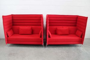 "Mint Pair of Vitra ""Alcove"" 2-Seat Highback Sofas in Pristine Red ""Credo"" Fabric"