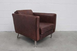 "Divine Pristine Minotti ""Rodolfo Dordoni"" Armchair in Vintaged Brown Leather"