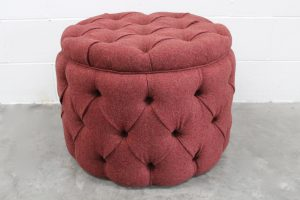 "Mint ""Soho Baby Buttoned-Drum"" Ottoman Footstool in Mulberry Wool"