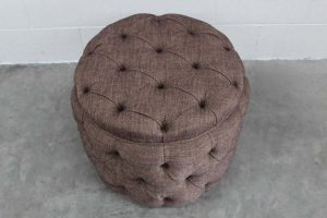 "Mint ""Soho Baby Buttoned-Drum"" Ottoman Footstool in Ralph Lauren Fabric"
