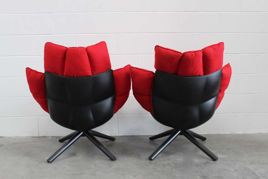 Sublime Pair Of Bb Italia Husk Armchairs In Pristine Red Ego