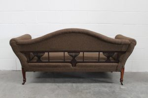 "Antique ""Double-Chaise"" 3-Seat Sofa in Moon ""Aberdeen"" Peat Green Woolen Fabric"