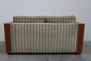 "Rare Impeccable Ligne Roset ""Wood-Arm"" Large 2-Seat Sofa in Zoffany Stripe Fabric"