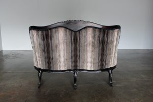 "Stunning French Hand-Carved ""Fauteuil"" Small Sofa in Black Wood and Romo ""Zinc"" Fabric"