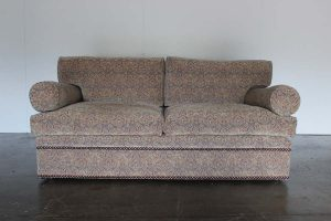 "Rare Mint George Smith ""Bolster"" 2.5-Seat Sofa in Blue & Red Paisley Fabric"