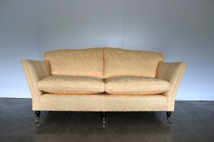 "Elegant Pristine Duresta ""Ruskin"" 3-Seat Large Sofa in Yellow Gold Floral Fabric"