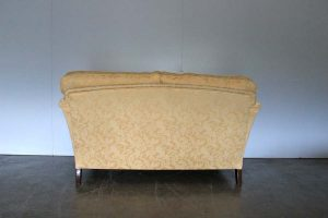 "Elegant Pristine Duresta ""Ruskin"" 2-Seat Small Sofa in Yellow Gold Floral Fabric"
