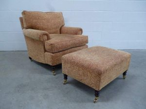 "Pristine George Smith ""Standard-Arm"" Armchair & Run-Up in Gold Damask Velvet"