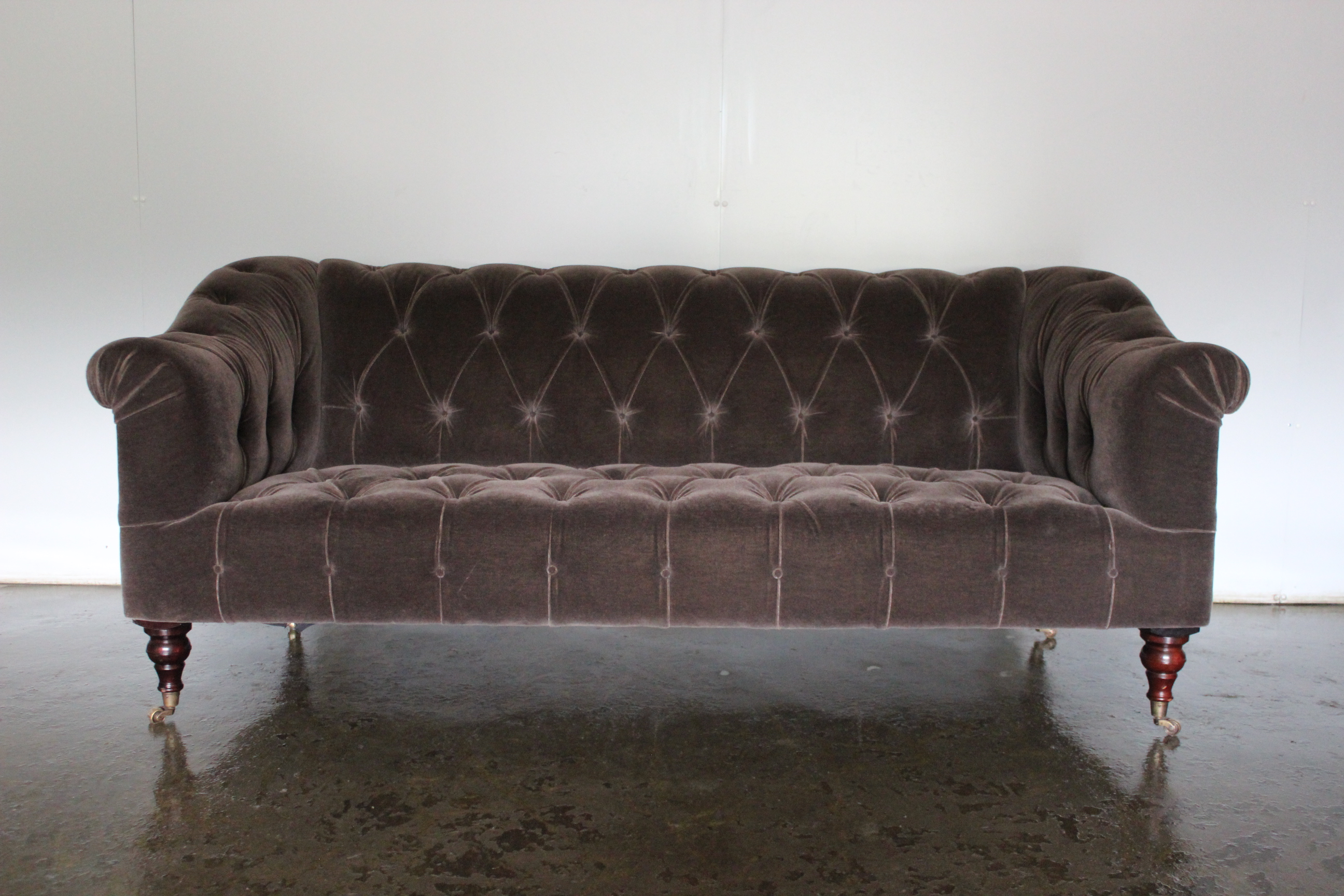Mint Unique Special Order George Smith Seaton Medium 2 5 Seat Sofa In Mink Mohair Velvet G S Printed Hessian Lord Browns