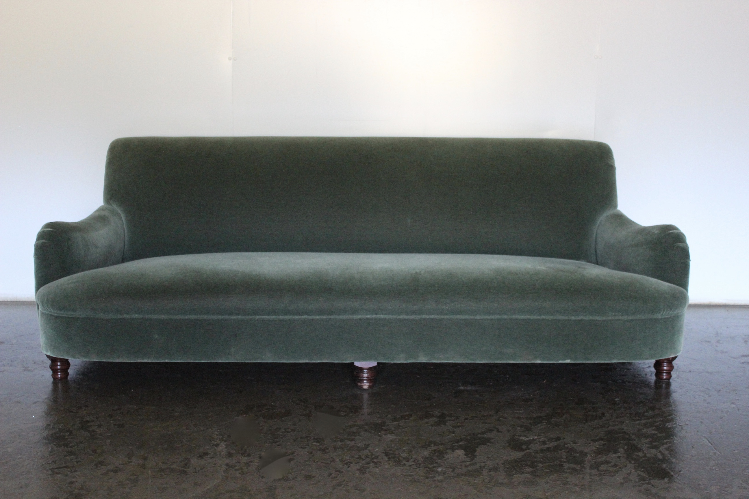 Mint Unique Special Order George Smith Jules 3 Seat Fixed Sofa In Green Mohair Velvet G S Printed Hessian Lord Browns