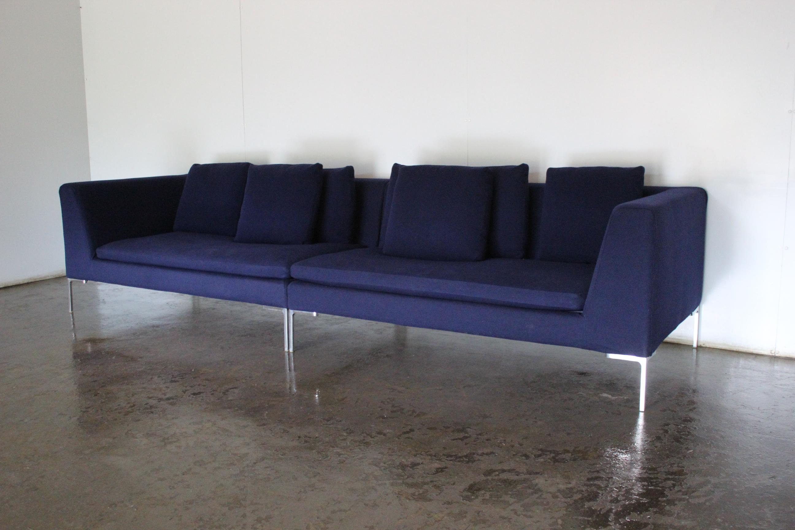 Amazing Superb Bb Italia Charles Sectional 4 Seat Sofa In Navy Ibusinesslaw Wood Chair Design Ideas Ibusinesslaworg