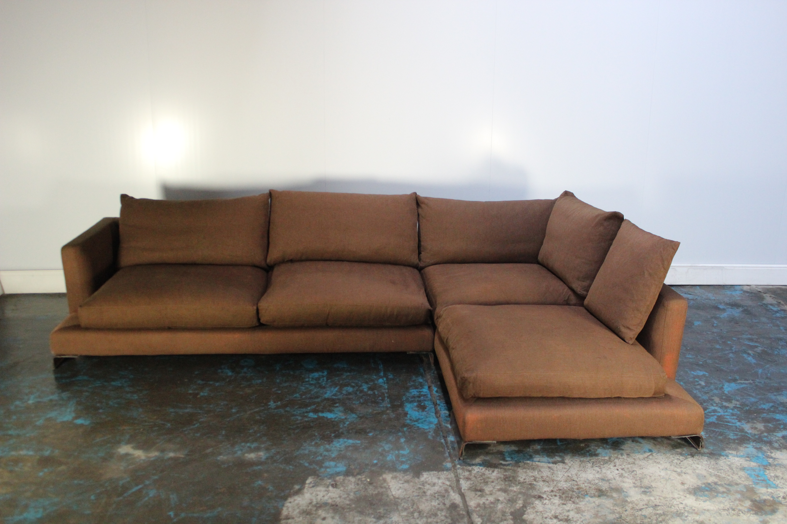Pleasing Details About Peerless Huge Flexform Long Island Sectional L Shape Sofa In Mid Brown Linen Onthecornerstone Fun Painted Chair Ideas Images Onthecornerstoneorg