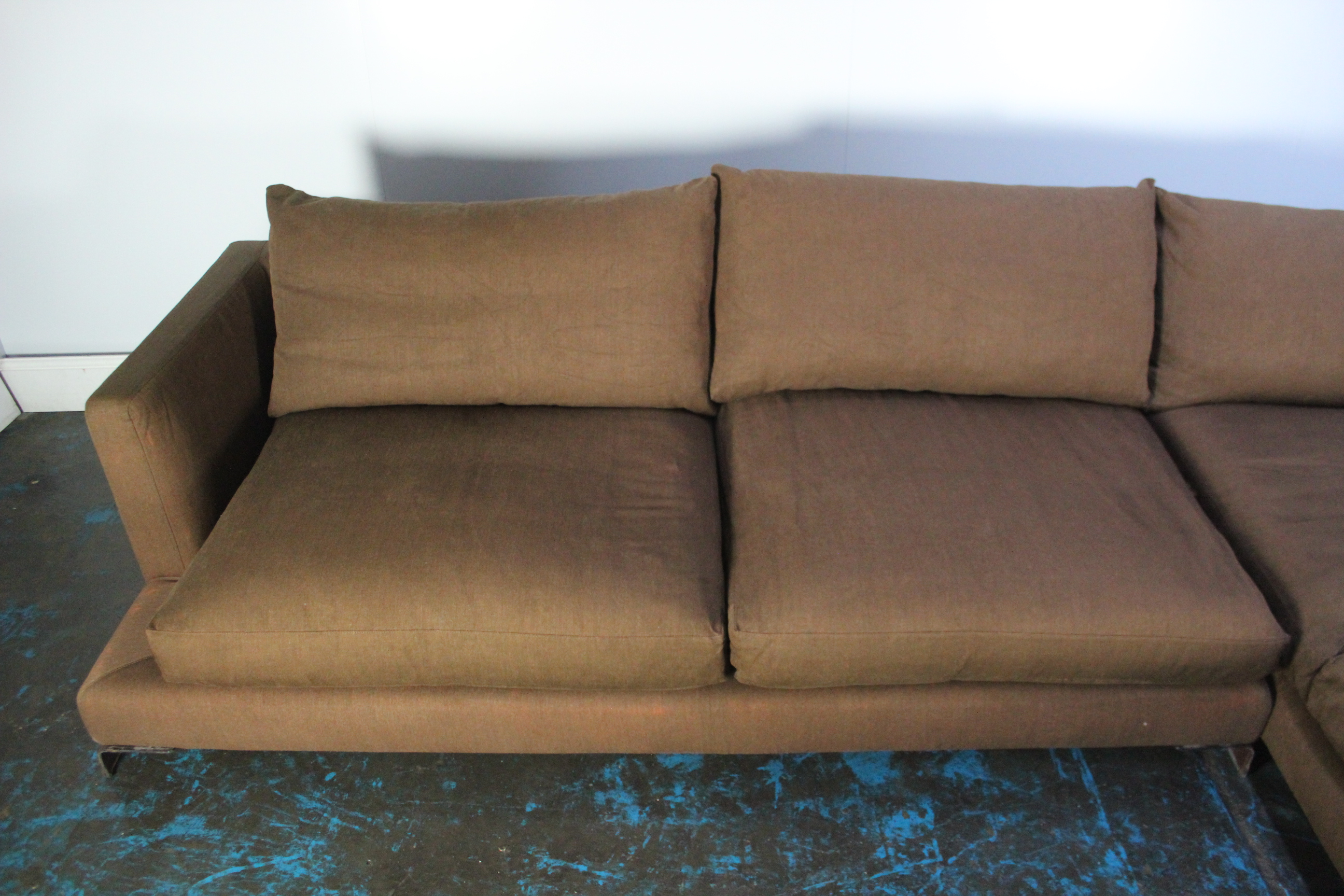Awesome Details About Peerless Huge Flexform Long Island Sectional L Shape Sofa In Mid Brown Linen Onthecornerstone Fun Painted Chair Ideas Images Onthecornerstoneorg