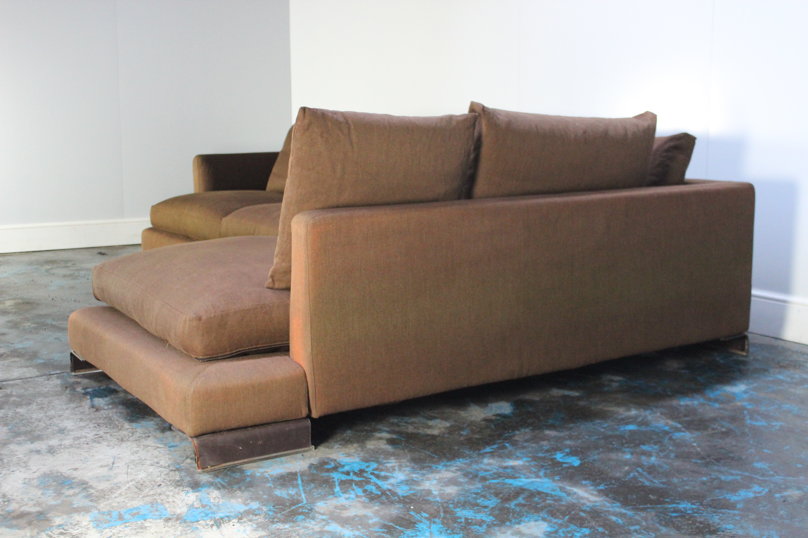 Groovy Details About Peerless Huge Flexform Long Island Sectional L Shape Sofa In Mid Brown Linen Onthecornerstone Fun Painted Chair Ideas Images Onthecornerstoneorg